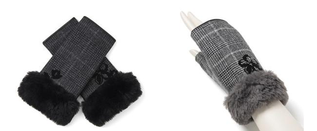 クリスマスローズモチーフ刺繍チェック柄フィンガーレスカシミヤ混ジャージグローブ/グレー/ブラック