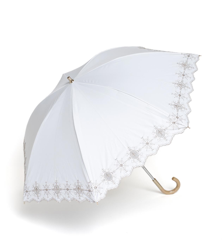 ダマスコ風バレリーナ柄 晴雨兼用長傘/ホワイト