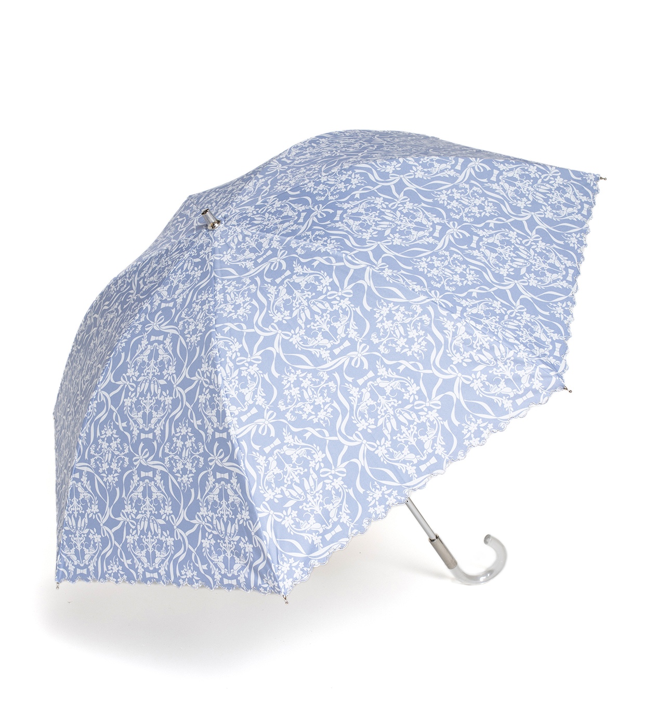 レース調プリント 晴雨兼用長傘/ブルー