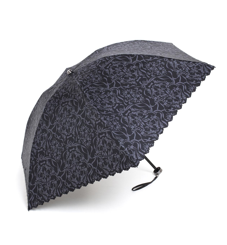 レース調プリント 晴雨兼用ミニ傘/ブラック