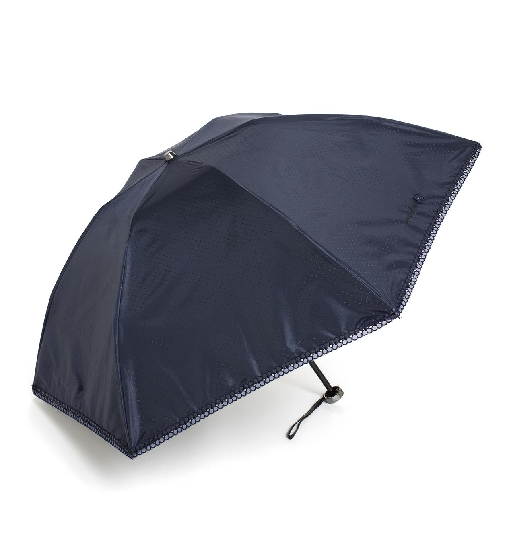 ドット柄フィオーリモチーフ付き 晴雨兼用ミニ傘/ネイビー
