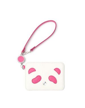 パンダ/リール式パスケース/ピンク