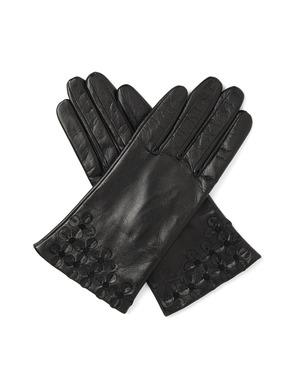 裾フィオーリモチーフ付きレザーグローブ/ブラック
