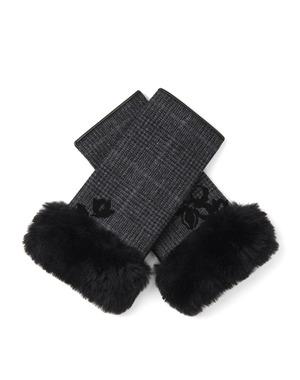 クリスマスローズモチーフ刺繍チェック柄フィンガーレスカシミヤ混ジャージグローブ/ブラック