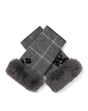 クリスマスローズモチーフ刺繍チェック柄フィンガーレスカシミヤ混ジャージグローブ/グレー