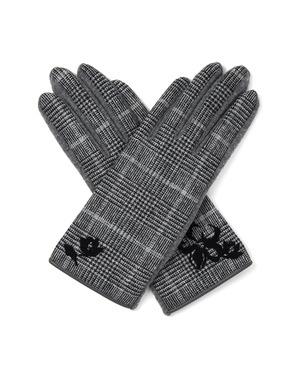 タッチパネル対応 クリスマスローズ刺繍チェック柄カシミヤ混ジャージグローブ/グレー