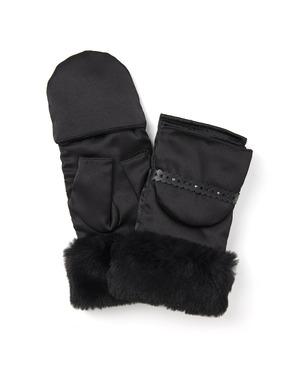 エコファー付き2WAYナイロン手袋/ブラック