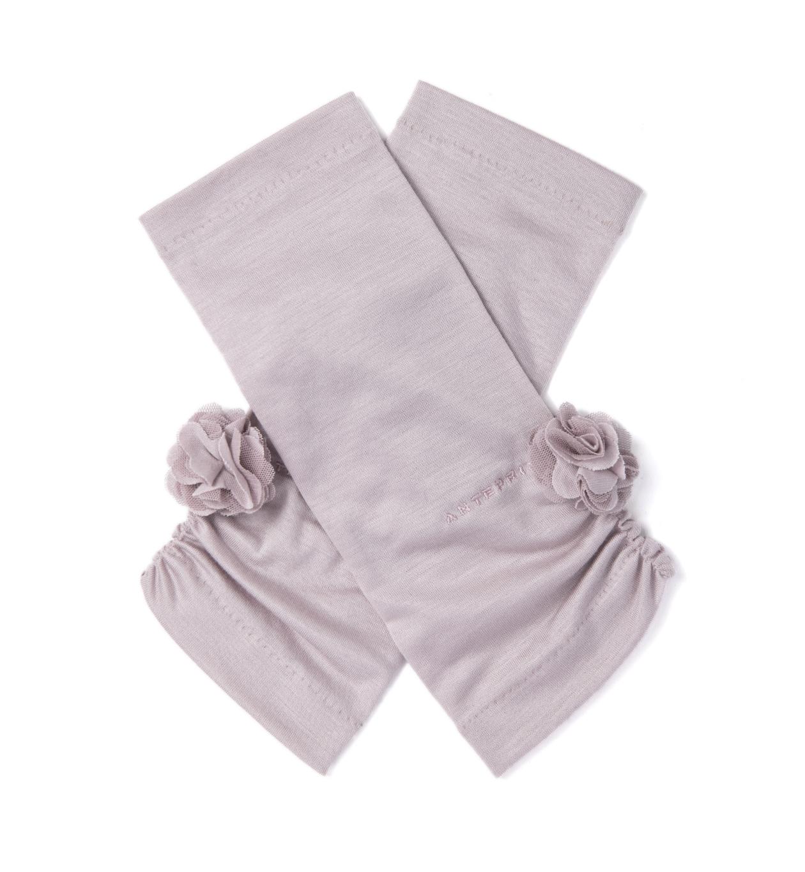 オーガンジーレースフィオーリUVケアフィンガーレスショート手袋/ピンク