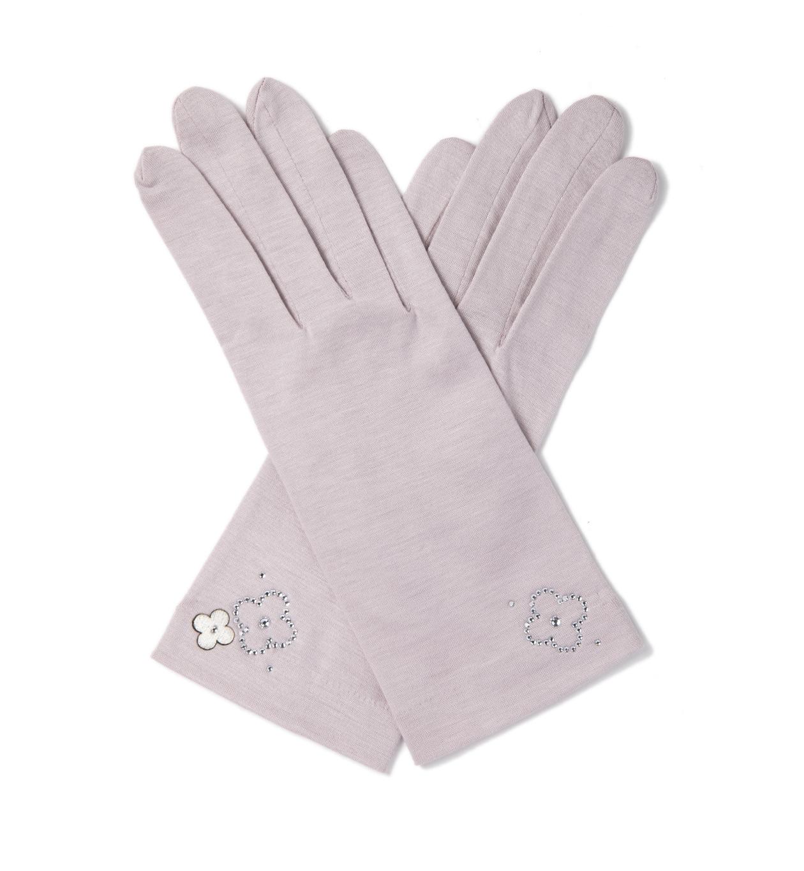 タッチパネル対応 ラインストーンフィオーリモチーフUVケアショート手袋/ピンク