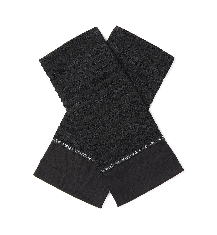 レースUVケアフィンガーレスショート手袋/ブラック