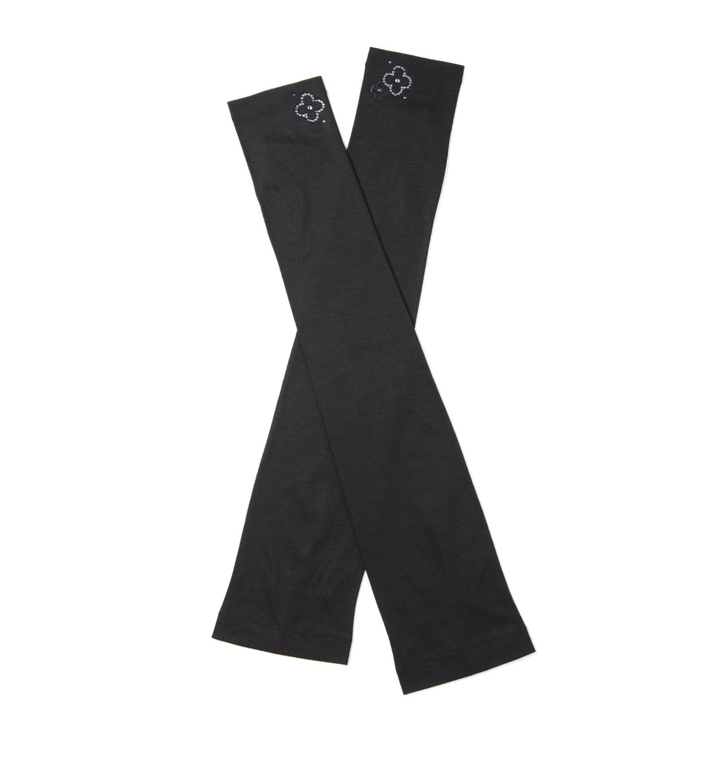 ラインストーンフィオーリモチーフUVケアフィンガーレスロング手袋/ブラック
